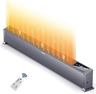 Calentador Eléctrico De Convección De Zócalo 2.2KW, Perfil De Bajo Nivel, Termostato, Temporizador Digital para El Hogar/Invernadero - Radiador De Placa Base, Control Remoto