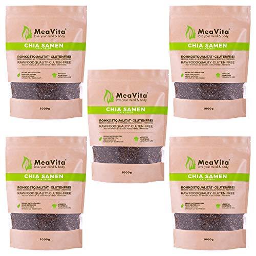 MeaVita Premium Chia Samen, (5 x 1000g) naturbelassen, glutenfrei ohne Gentechnik
