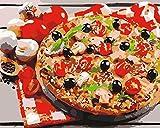 N/W Malen nach Zahlen für Erwachsene Acrylfarbe (Lebensmittel Pizza) DIY Ölgemälde Home...