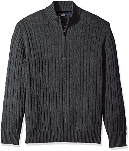IZOD Men's Cable Solid 1/4 Zip Sweater, Asphalt Heather, Large
