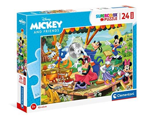 Clementoni- Mickey Mouse Supercolor Disney And Friends-24 Maxi Pezzi-Made in Italy, Puzzle Bambini 3 Anni+, Multicolore, 24218