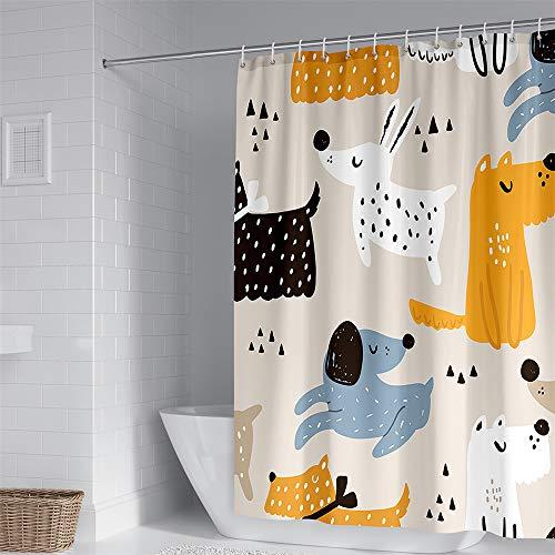 Hiseng Duschvorhang aus Polyester Wasserdichter, Waschbare Duschvorhänge mit 12 Duschvorhangringen, Duschvorhang mit H&edruck, Badewannevorhang für Badezimmer (Cartoons,120x180cm)