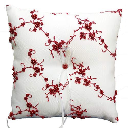 Ringkissen Rot Weiß für die Hochzeit bestickt mit Perlen im Blüten Muster, Kissen für Trauringe, quadratisch, 19,5 x 19,5 cm