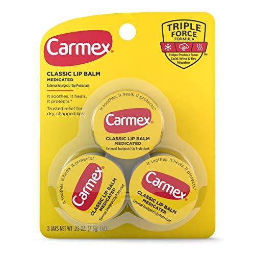 Carmex Medicated Lip Balm Jars Lip Protectant  Pack of 3