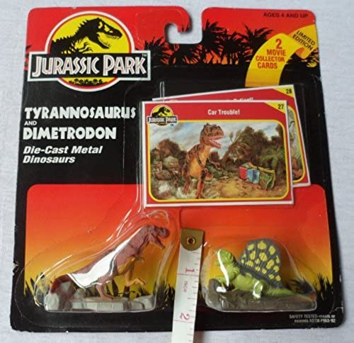 Tyrannosaurus Rex and a Dimetrodon From Jurassic Park - Diecast Jurassic Park by Kenner