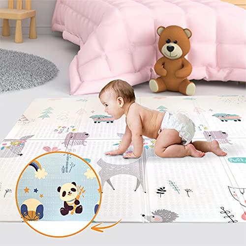 Tapis de Jeu Pour Enfant Bebe 160x180x1cm Tapis de Sol XXL en Mousse Epais Pliable Reversible -...