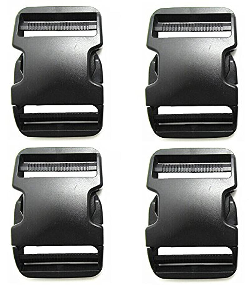 Beaulegan Plastic Buckles 2 Inch (Pack of 4)- Quick Side Release for Luggage Straps, Pet Collar, Backpack Repairing - Dual Adjustable Ends, Black