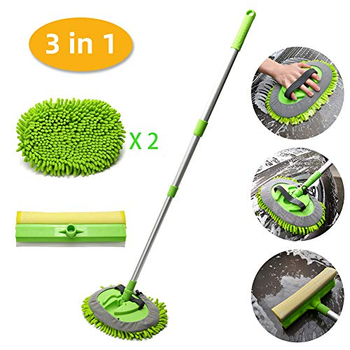 CARCAREZ 3 in 1 Microfiber Car Wash Brush Mop with 45' Aluminum Alloy Long Handle, Silicone Window Squeegee and Scrubber Sponge