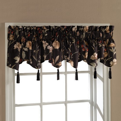 United Curtain Charlotte Floral Ascot Valance, 54 by 15-Inch, Black by United Curtain