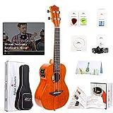 BOOSSONGKANG violín Ukulele Solid Mahogany w/Online VideoSoprano Concert TenorGuitarra de 4 cuerdas con afinador de cuerda de
