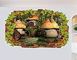 Pegatinas de pared Decoración mural del cartel del arte 3D de la casa de la seta en las etiquetas engomadas de la pared