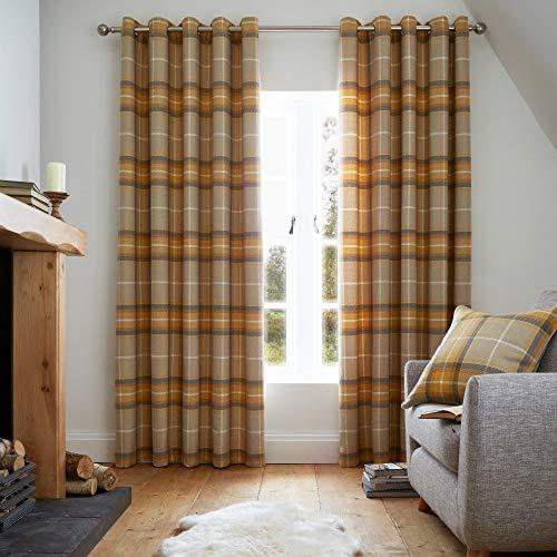 KITHOUWAS Catherine Lansfield Brushed Heritage Check Eyelet Curtains 66x90 Inch Ochre