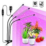 FSGTEK 60W LED Grow lights for Indoor Plants, Tri-arms 10 Dimmable Levels Clip-On