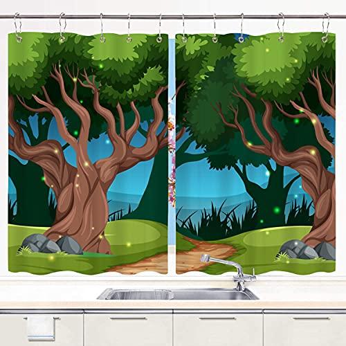 Cortina de Cocina,Ilustración Hermosa de la Escena del Paisaje al Aire Libre, Cortinas Opacas térmicas Forradas para Ventana, 55 x 39 Pulgadas, 2 Paneles, Juego