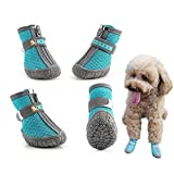 Hcpet Dog Booties Nine Hole Net with TPR Rubber Material Antislip Pet Boots with Zipper for Indoor