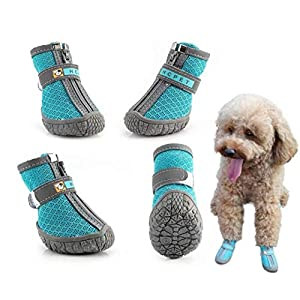 Hcpet Dog Boots Nine Hole Net with TPR Rubber Material Antislip Pet Boots with Zipper Outdoor Hot Pavement Paw Protectors for Small to Medium Dogs 4Ps