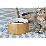 Tigerli 6インチ ペット ボウル 猫食器 陶器のお皿 取り外しが簡単洗いやすく 木製スタンド 滑り止め。 犬猫用 小型犬 食器台 猫食器スタンド 水飲みボウル フードボウル ペット用品