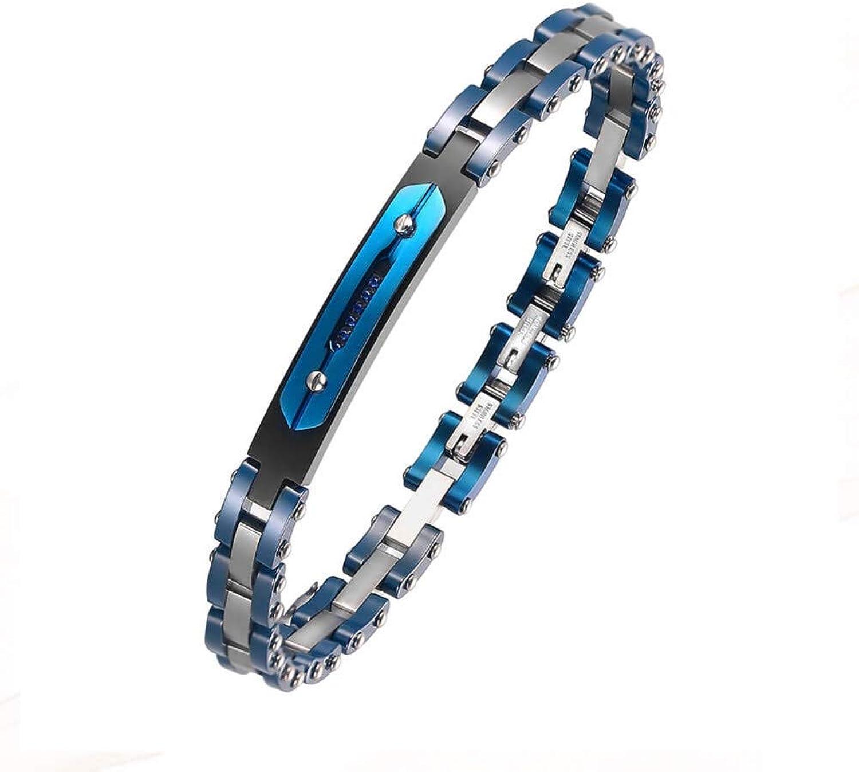 CTRCHUJIAN Men Women Stainless Link Bracelet Cuff bluee