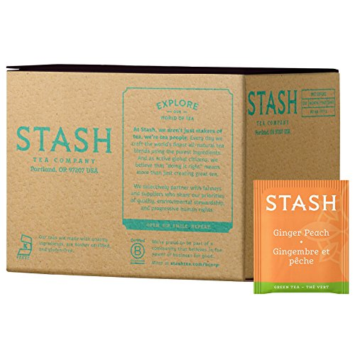 Stash Tea Ginger Peach Green Tea & Matcha Blend Tea Bags in Foil Individual Green Tea Bags for Use in Teapots Mugs or Cups, Brew Hot Tea or Iced Tea- 100 Count (Packaging May Vary)