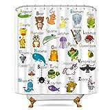 Riyidecor ABC Learning Alphabet Shower Curtain Kids Educational Bathroom Decor Fabric Panel Funny Teaching Words 72x72 Inch 12 Pack Plastic Shower Hooks