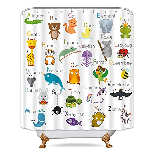 Riyidecor ABC Learning Alphabet Shower Curtain Kids...