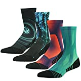 HUSO Mid Calf Football Running Socks Cool Unisex Adult Youth Outdoor Sports Exercise Cushion Padding Funky Basketball Crew Socks 4 Pairs