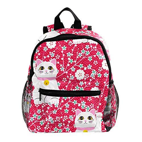 TIZORAX Maneki Neko Lucky Cat with Florals Lightweight Travel School Backpack for Boys Girls Kids