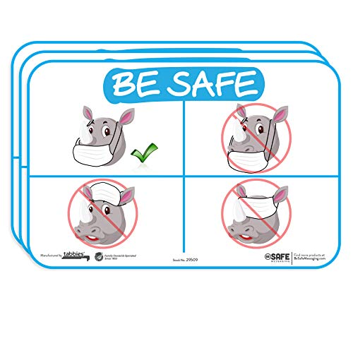 "tabbies BeSafe Messaging - How to Wear a Mask Illustration, 3-Pack 9""x6"", Repositionable Fun Kids Animal Education Safety Signs, Perfect for Most Surfaces: Glass, Metal, Painted Surfaces (29509)"