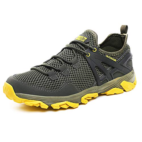 Idea Frames Herren Wanderschuhe Outdoor Sneaker Leichte rutschfeste Trainer für Trekking Camping Sportschuh, Grau/Gelb, 45 EU (Herstellergröße: 46)