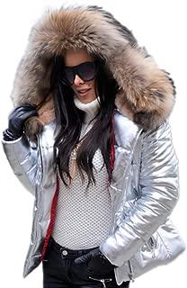Aox Women Winter Fox Faux Fur Shiny Black Down Parka Hooded Slim Jacket Coat TOP