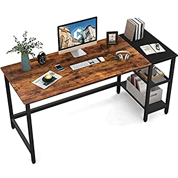 CubiCubi Computer Home Office Desk 63 Inch Small Desk Study Writing Table with Storage Shelves Modern Simple PC Desk with Splice Board Brown/Black