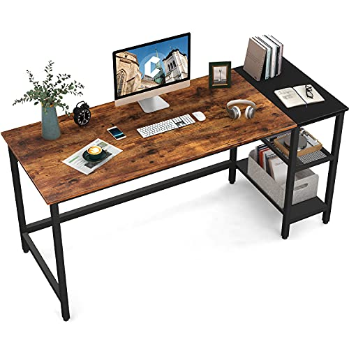 CubiCubi Computer Home Office Desk, 55 Inch Small Desk Study Writing Table with Storage Shelves, Modern Simple PC Desk with Splice Board, Brown/Black