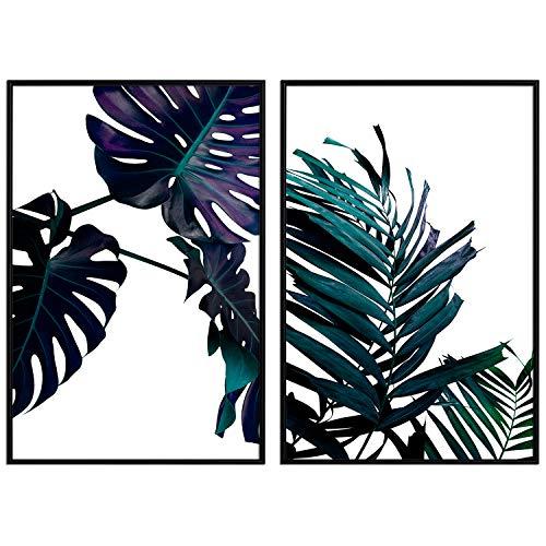 decomonkey   Poster 2er – Set mit schwarzem Rahmen schwarz-weiß Abstrakt Kunstdruck Wandbild Print Bilder Bilderrahmen Kunstposter Wandposter Posterset Monstera Blätter Tropen Palme