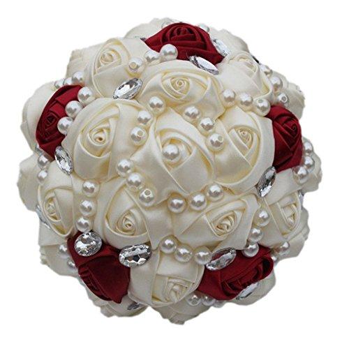 Fouriding - Ramo de novia resistente y personalizable hecho a mano - Rosas artificiales de seda de color marfil y rojo vino, perlas y cristales