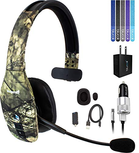 BlueParrott B450-XT Noise Canceling Bluetooth Headset with 300-FT Wireless Range (Mossy Oak) Bundle with Blucoil Micro USB Car Charger, USB Wall Adapter, and 5-Pack of Reusable Cable Ties