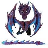 Accesorios de Cosplay de dragón de máscara ala y Cola Disfraces de Halloween para niños Decoraciones de Fiesta Set Niños Fantasía Dinosaurio Disfraz de dragón de Cola de ala Animal