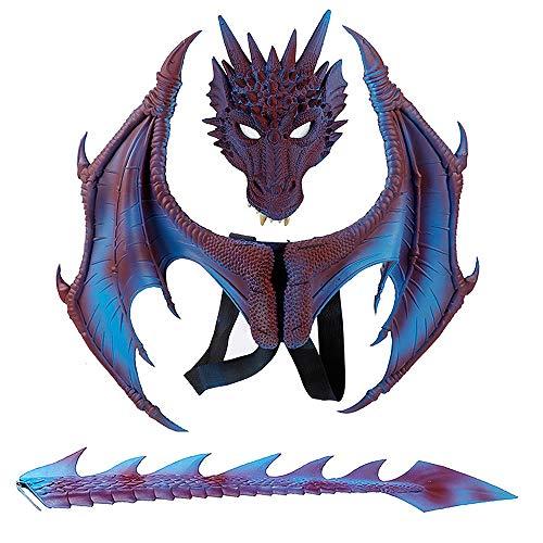 Accesorios de Cosplay de dragn de mscara ala y Cola Disfraces de Halloween para nios Decoraciones de Fiesta Set Nios Fantasa Dinosaurio Disfraz de dragn de Cola de ala Animal
