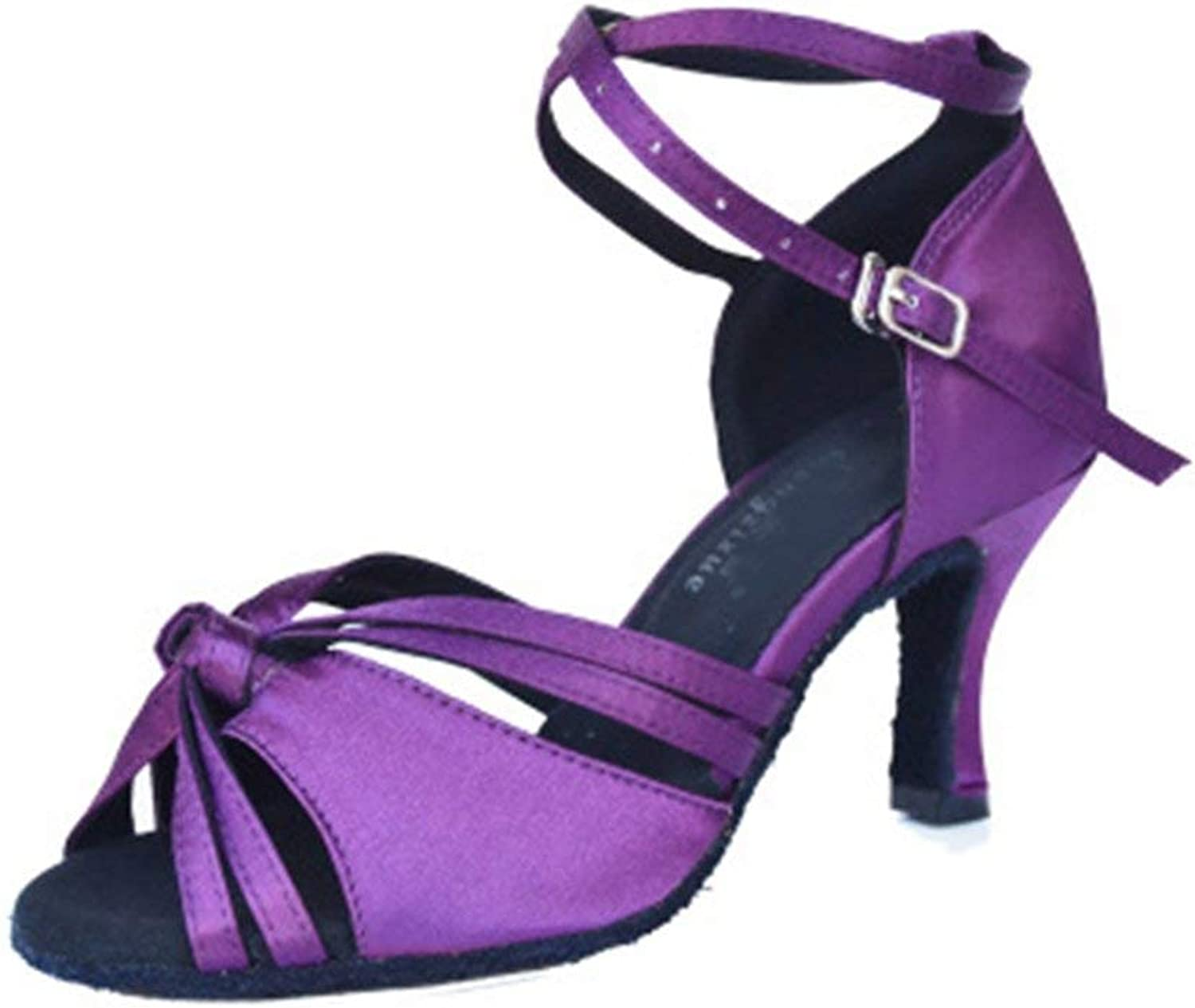 Beautiful - Fashion Women's Satin Latin Tango Salsa Heel Dance Sandals Open Toe Ballroom Morden Dancing shoes Purple