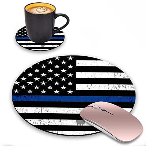 LACOMA Round Mouse Pad and Coasters Set, Thin Blue Line American Flag Design Mouse Pad, Non-Slip Rubber Base Mouse Pads for Laptop and Computer, Cute Design Desk Accessories