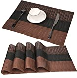famibay Bamboo PVC Weave Placemats Non-Slip Kitchen Table Mats Set of 4-30x45 cm (Color 2)