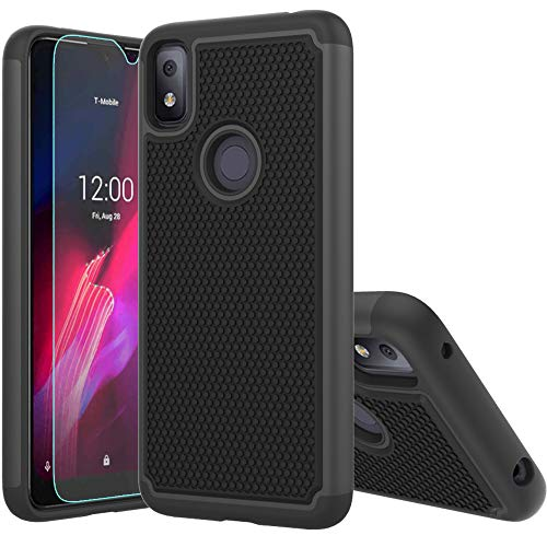 T-Mobile Revvl 4 Case,Revvl 4 Case,with HD Screen Protector [Shock Absorption] Hybrid Dual Layer TPU & Hard Back Cover Bumper Protective Case Cover for T-Mobile Revvl 4 (Black Armor)