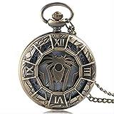 KaiKai WatchGame Bolsillo de Tronos Bronce Reloj de Bolsillo con Cadena Larga de Regalos for Hombre del Estilo de Steampunk Cuarzo Antiguo Pendiente (Color : Style 1)