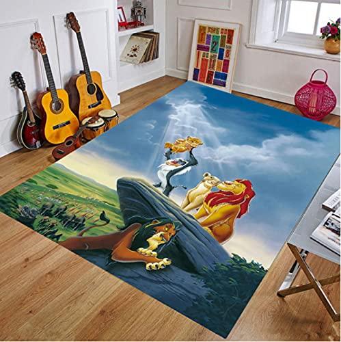 WHFDZJT Tappetino da Gioco per Bambini Tappetino Antiscivolo Simba The Lion King Tappeto con Motivo Stampato Anime Tappeto per Bambini Tappetini 120X160Cm