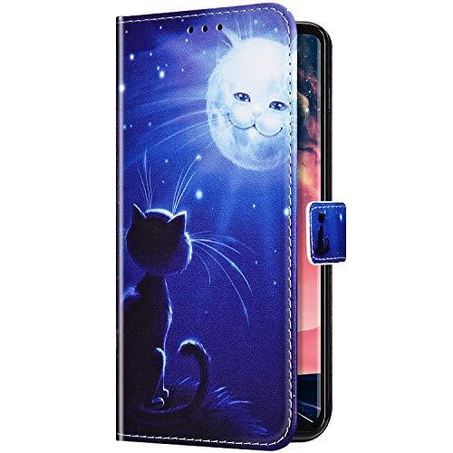 Uposao Kompatibel mit Samsung Galaxy A20 / A30 Hülle Handyhülle Bunt Retro Muster Klapphülle Flip Case Cover Schutzhülle Lederhülle Brieftasche Leder Tasche Kartenfächer Magnet,Weiß Katze