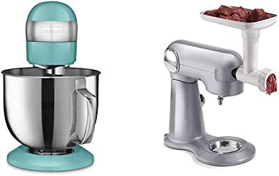 Cuisinart SM-50TQ Stand Mixer, Turquoise & Meat Grinder Attachment for SM-50S