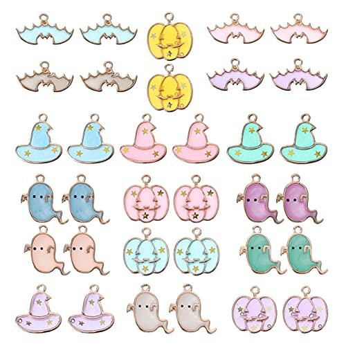VORCOOL 34 Piezas de Esmalte de Halloween Encanto Calabaza Murciélago Fantasma Colgante DIY Joyería Hacer Accesorios para Fiesta de Joyas de Vacaciones (Estilo Mixto)