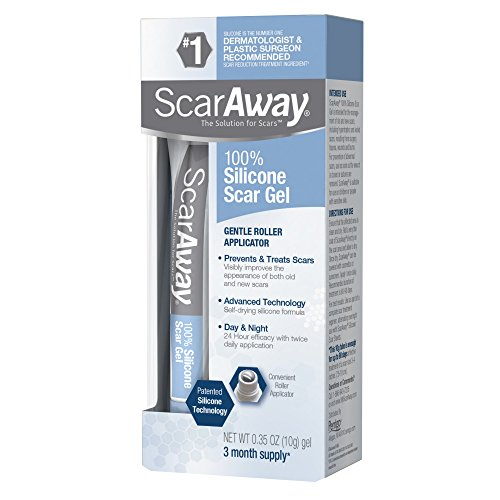 ScarAway 100% Silicone Scar Gel, improves the appearance of scars, prevents excessive scar formation, 0.35 Ounces (10 Grams)