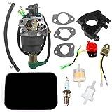 AISEN Carburetor for Honeywell HW5500 HW5000E HW6200 100924A 100925A 6036 6037 6151 5500 6875W 337cc 389cc Generator Carb Fuel Line Filter Foam Air Filter Oil Alert Sensor