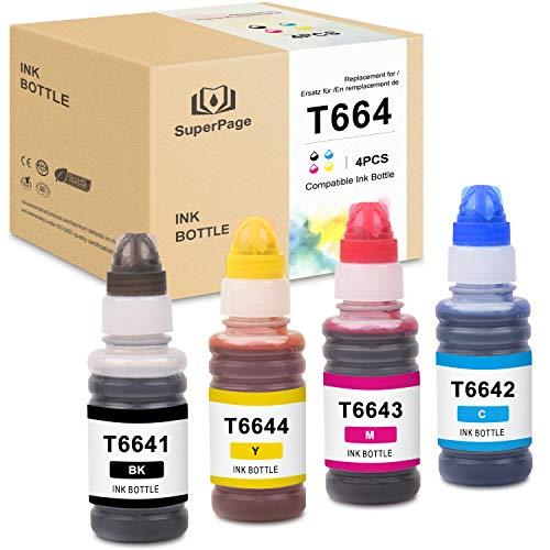 4 Superpage Kompatible Epson 664 T6641-T6644 Tinte für Epson EcoTank ET-2650 L300 L350 L355 L365 L455 L550 L555 L565 L100 L200 ET2550 ET2500 ET4500, Schwarz Cyan Magenta Gelb