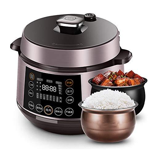 YFGQBCP Robot Cocina Olla de presión eléctrica del hogar 6l Inteligente Arrocera, Half Rate Pantalla Grande, válvula de Vapor extraíble, Anti Escaldado Mango